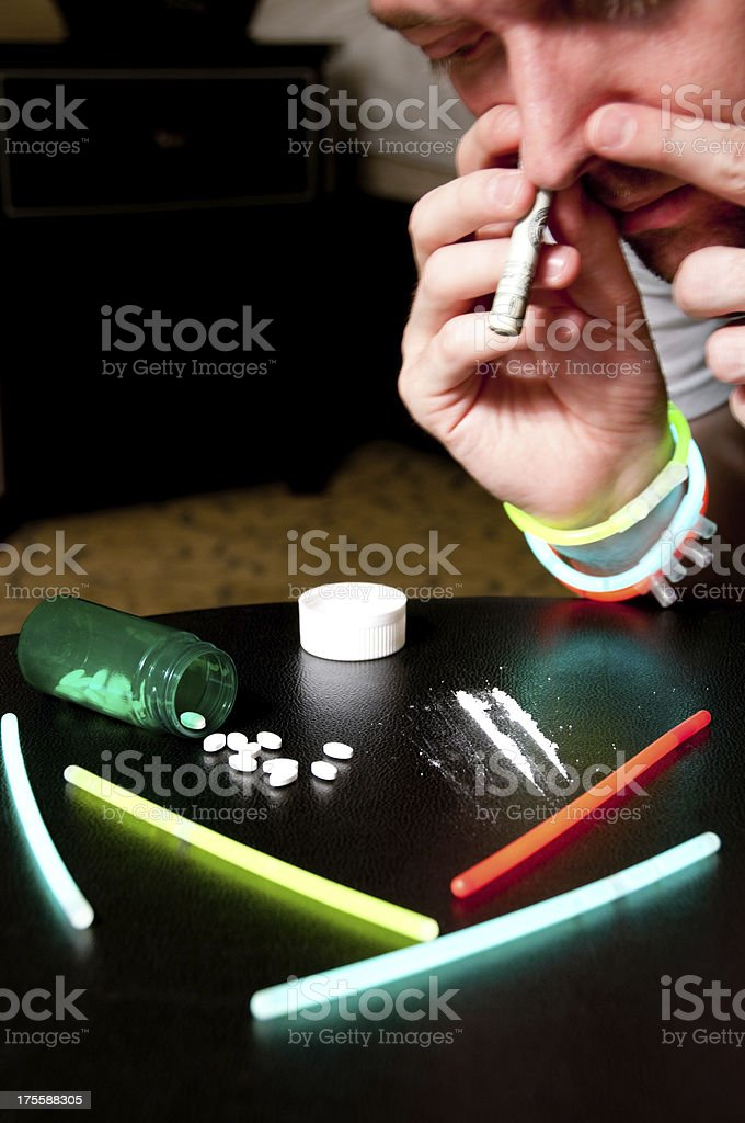 Simulated drug Abuse stock photo