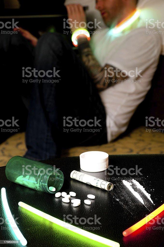 Simulated prescription drug abuse overdose stock photo
