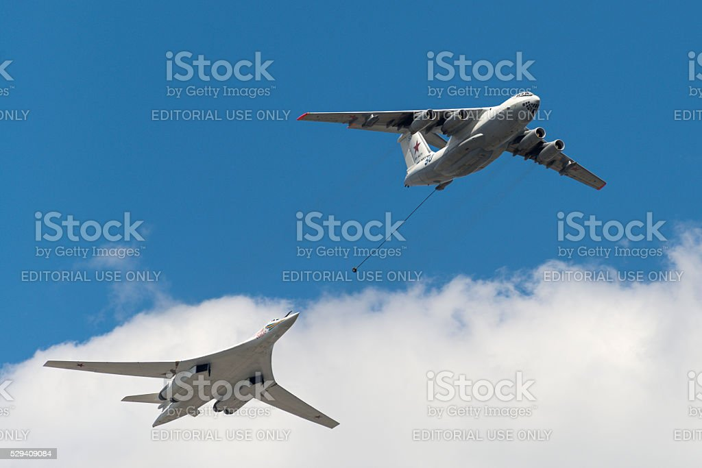 Simulation of in-flight refueling aircraft Il-78 and Tu-160 stock photo