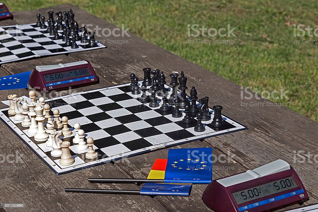 Simultan chess organized on the occasion of Europe Day stock photo