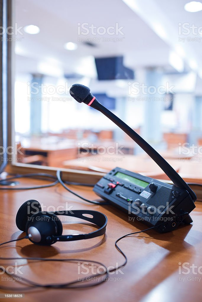 simultaneous interpreting equipment - microphone and switchboard stock photo