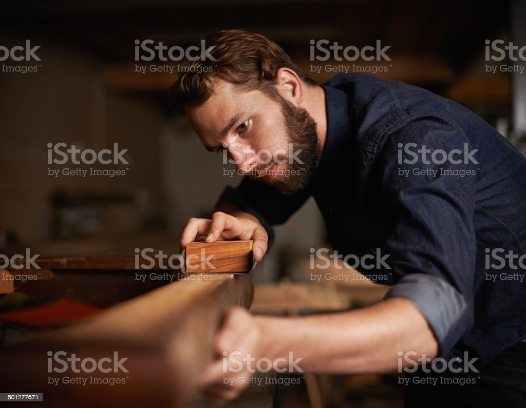Since opportunity didn't knock, he decided to build a door stock photo