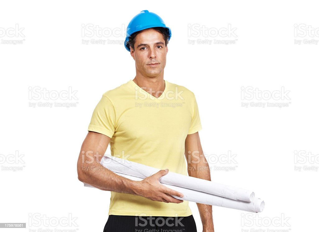 Sincere construction worker with helmet and blueprints on white stock photo