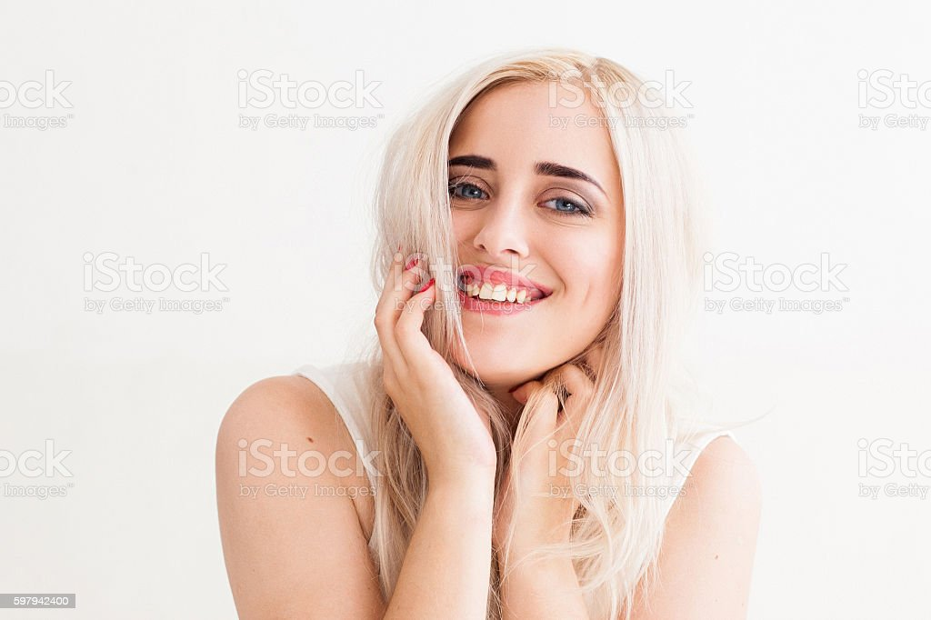 Sincere laugh of the beautiful blonde stock photo