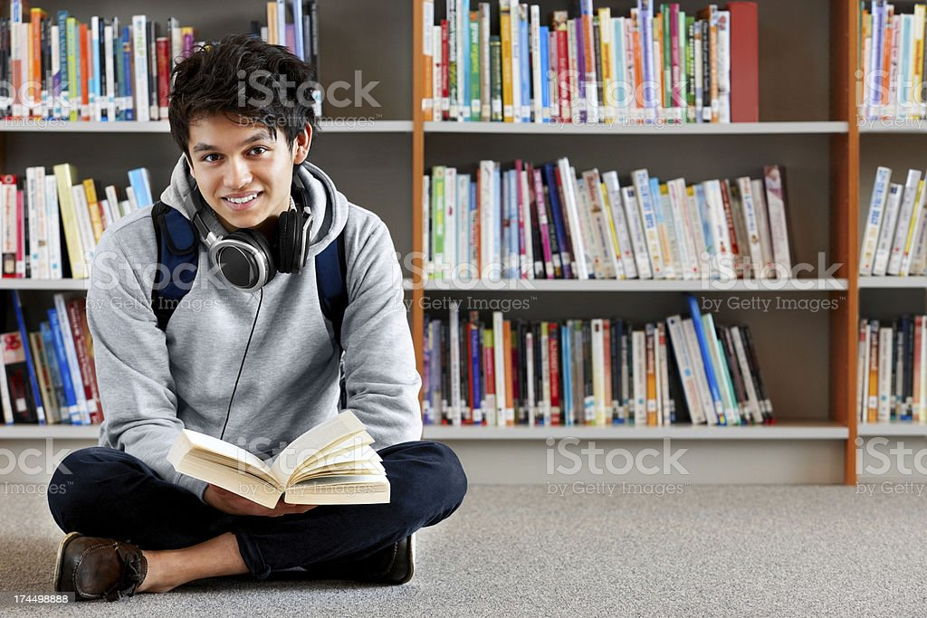 Sincere student in college library royalty-free stock photo