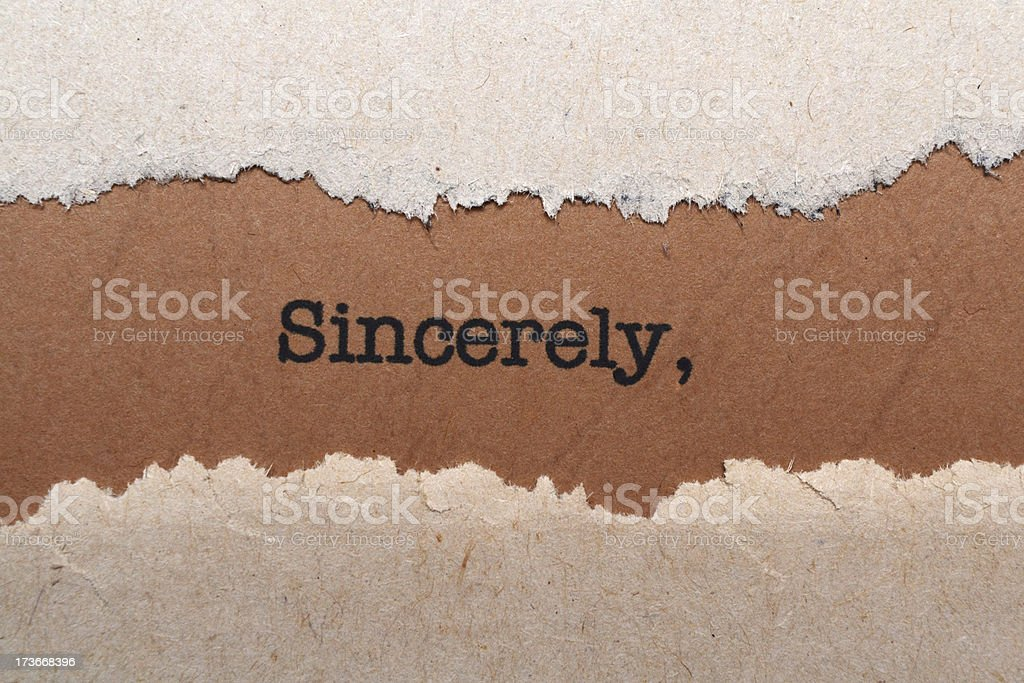 SIncerely concept royalty-free stock photo