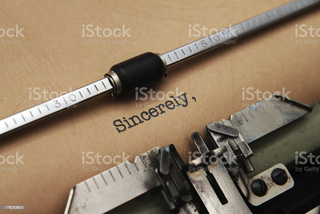 Sincerely  text on typewriter royalty-free stock photo