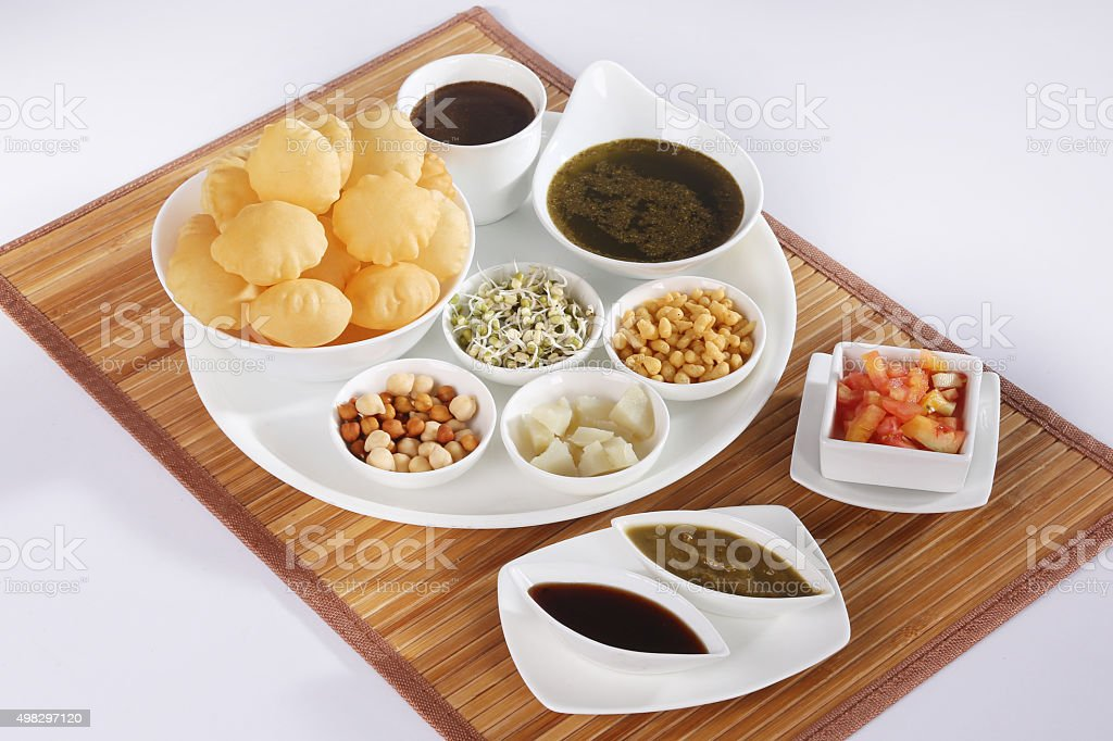 Sindhi Panipuri or Bombay Panipuri or Gol Gappa or Chaat stock photo