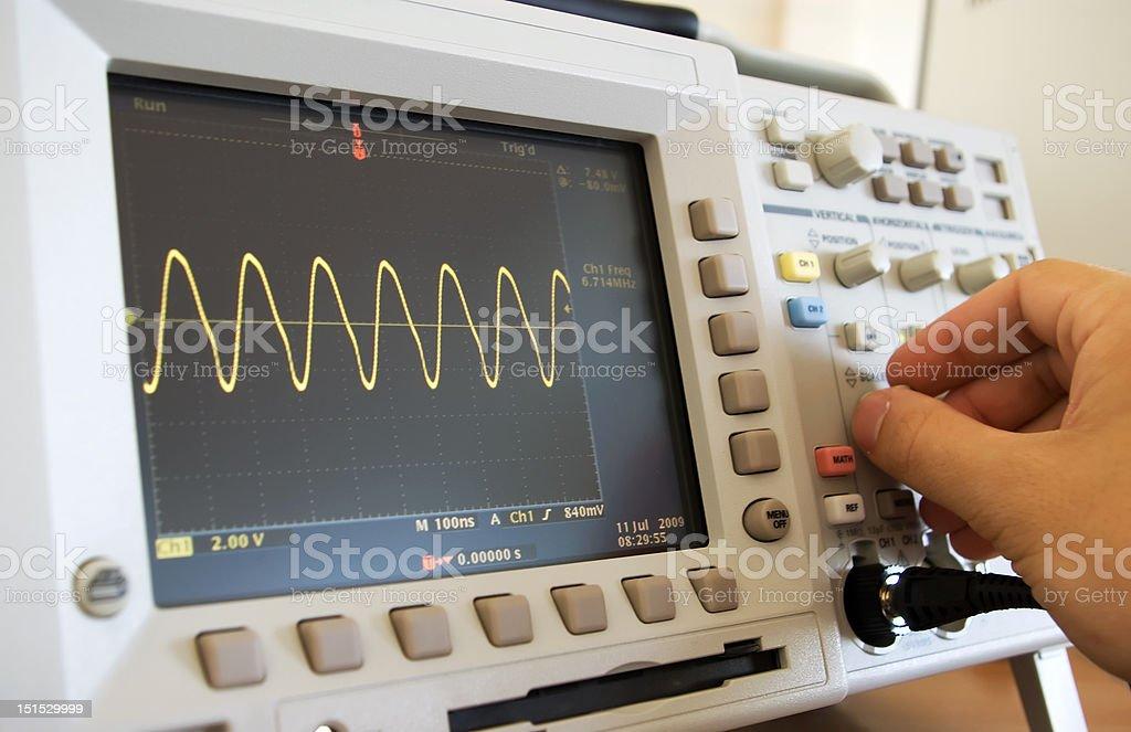 sine wave on oscilloscope screen royalty-free stock photo