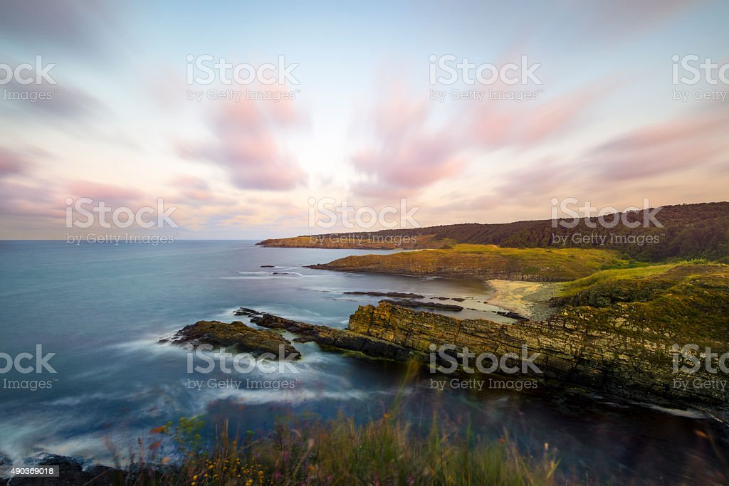 Sinemorets and Silistar beach in southern Bulgaria, by black sea stock photo