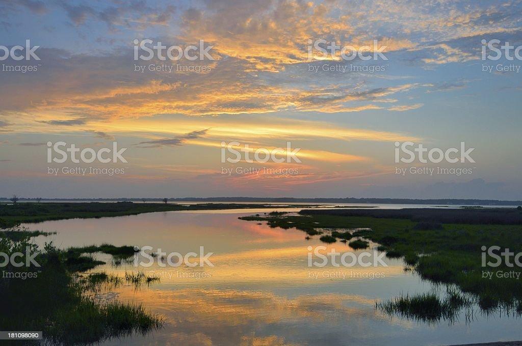 Sinepuxent Bay Sundown stock photo