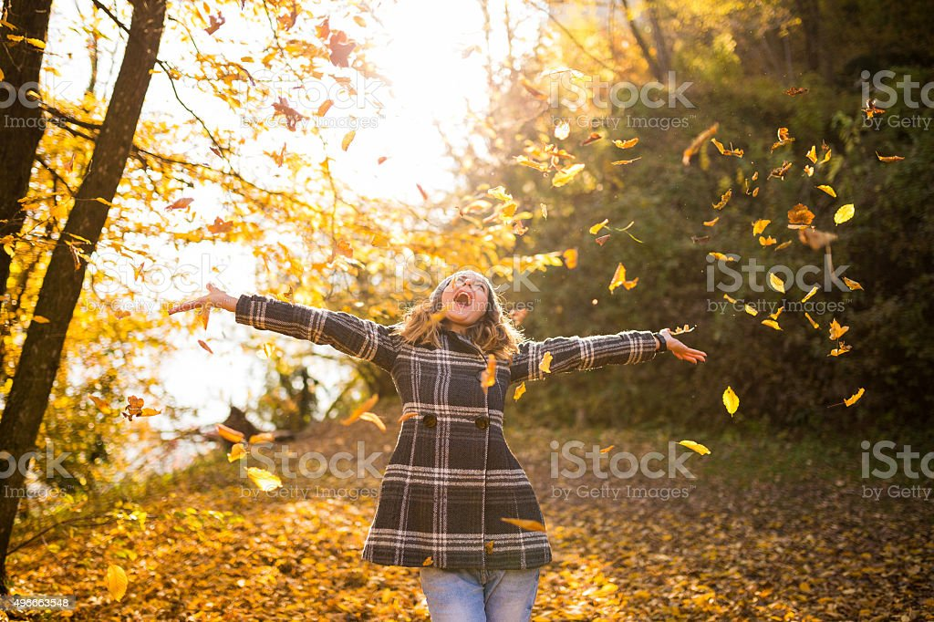 Sing and dance in autumn stock photo