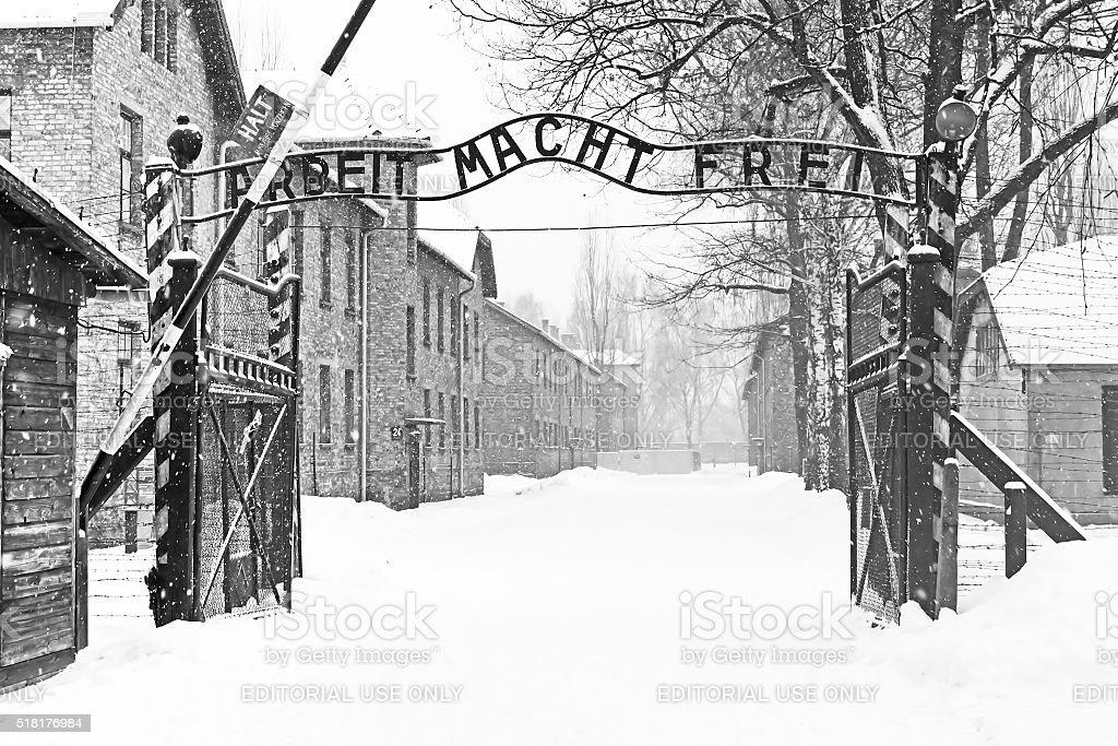 Sing Arbeit macht frei (Work liberates) in Auschwitz II Birkenau stock photo