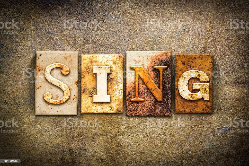 Sing Concept Letterpress Leather Theme stock photo