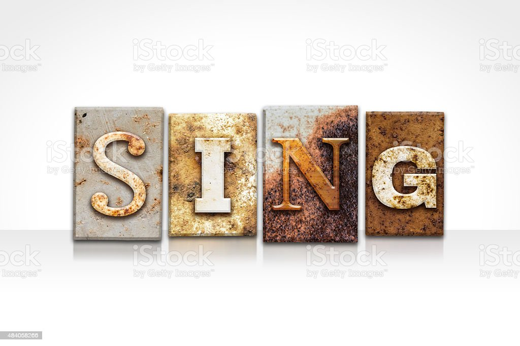 Sing Letterpress Concept Isolated on White stock photo