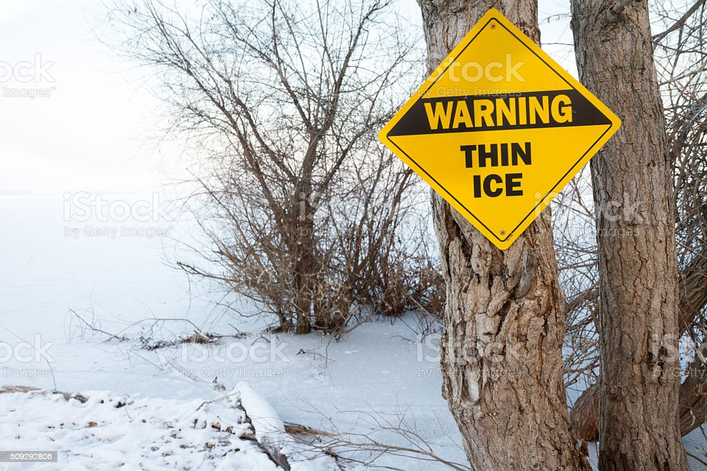 Sing showing thin ice stock photo