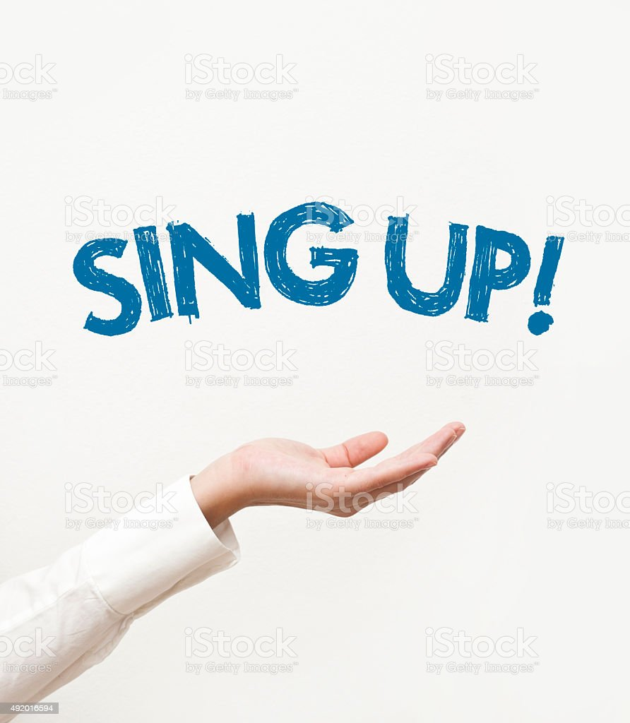 Sing up stock photo
