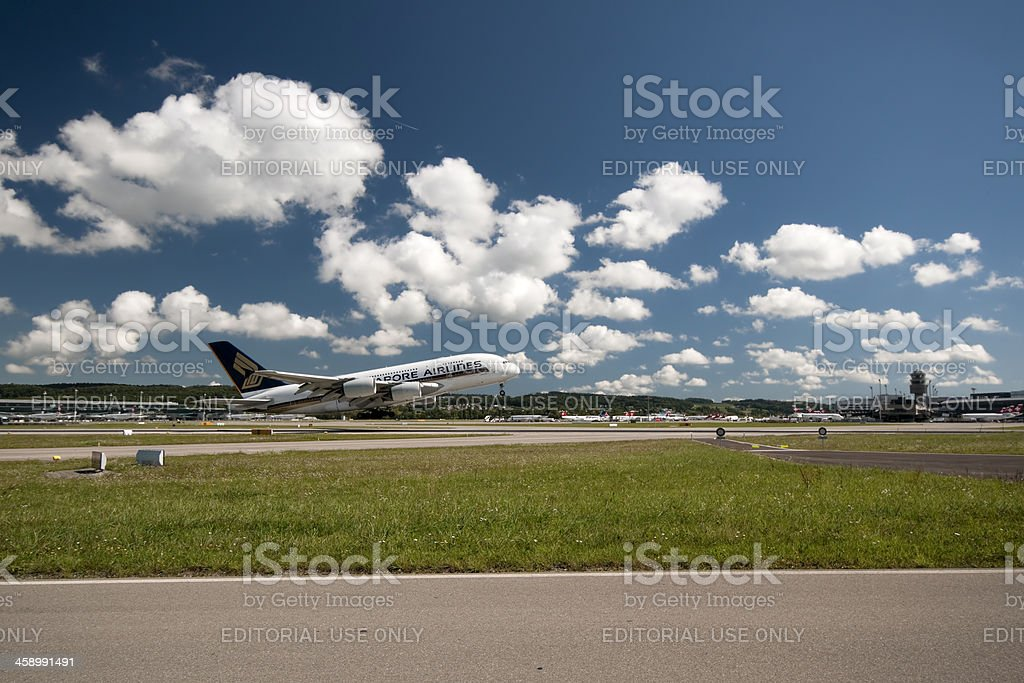 Singapore Airline Airbus A380 stock photo