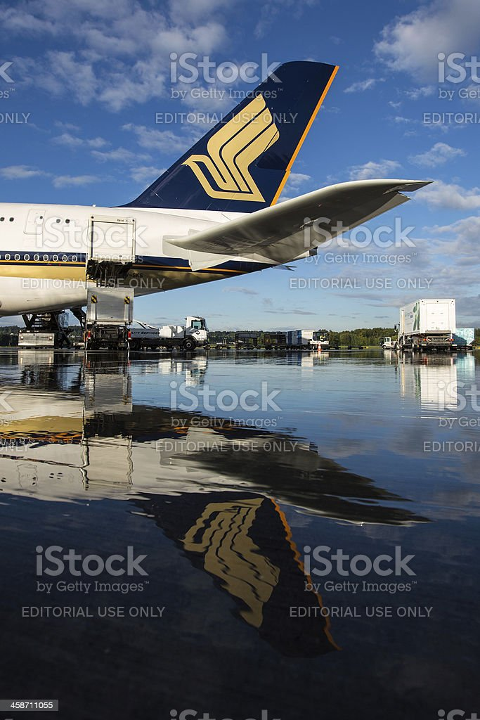 Singapore Airlines A380 Tail stock photo