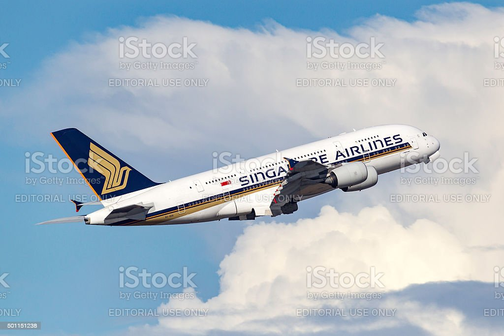 Singapore Airlines Airbus A380 9V-SKB stock photo