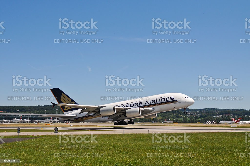 Singapore airlines airbus a380 aircraft stock photo