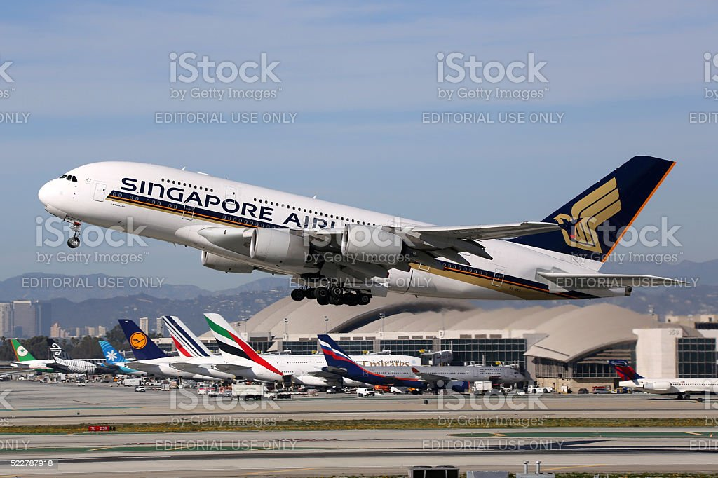 Singapore Airlines Airbus A380 airplane stock photo