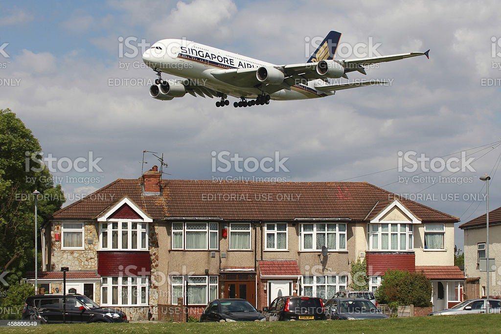 Singapore Airlines Airbus A380 aviation noise stock photo