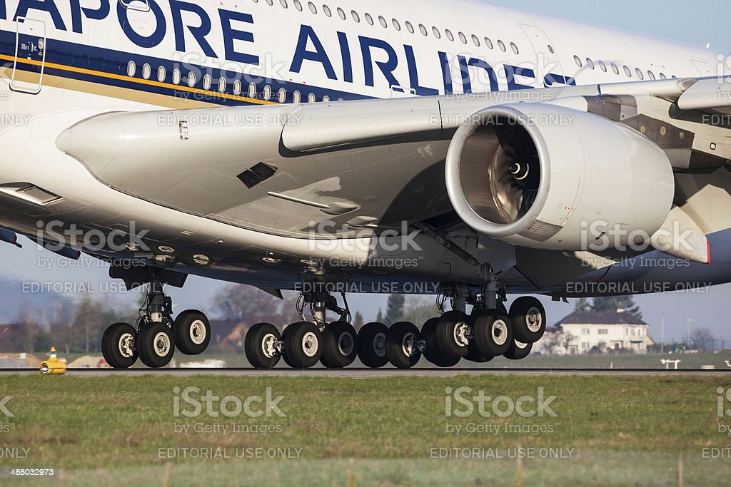 Singapore Airlines Airbus A380 - Detail stock photo
