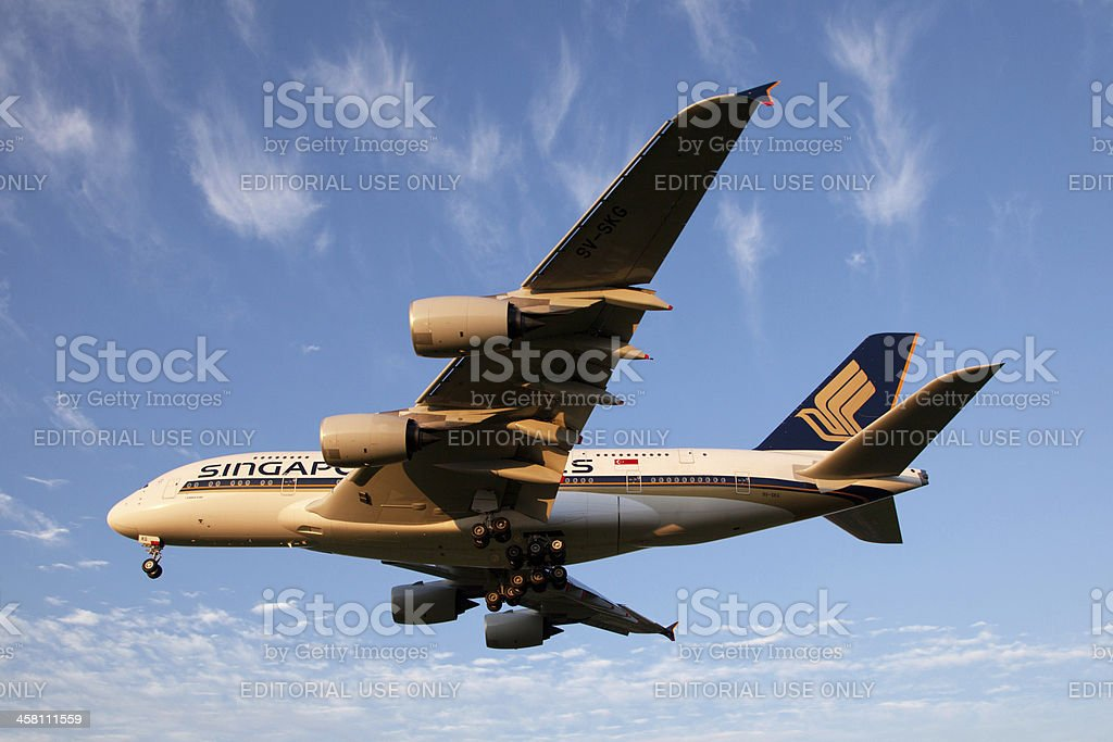 Singapore Airlines Airbus A380 stock photo
