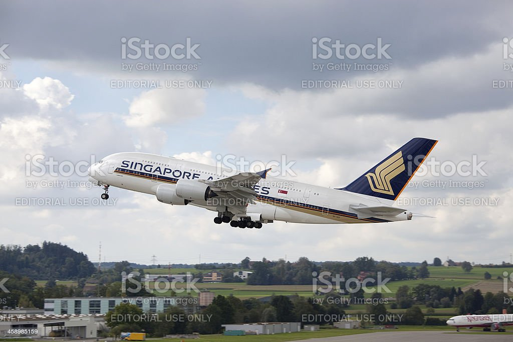 Singapore Airlines Airbus A380 royalty-free stock photo