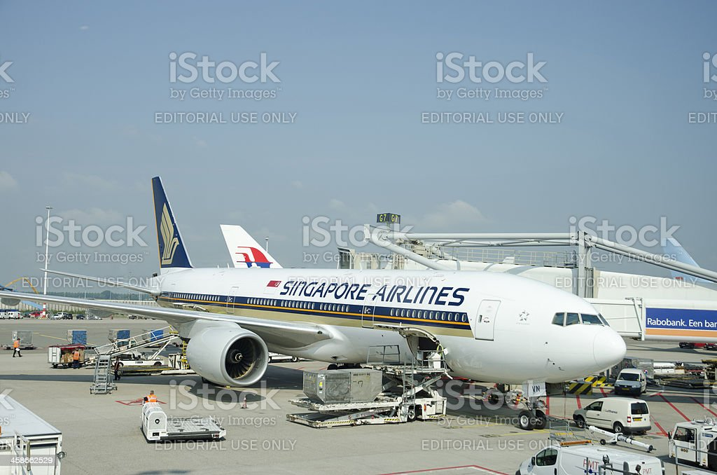 Singapore Airlines Airplane getting prepared royalty-free stock photo