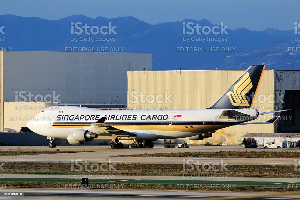 Singapore Airlines Boeing 747-400 Cargo at LAX Airport stock photo