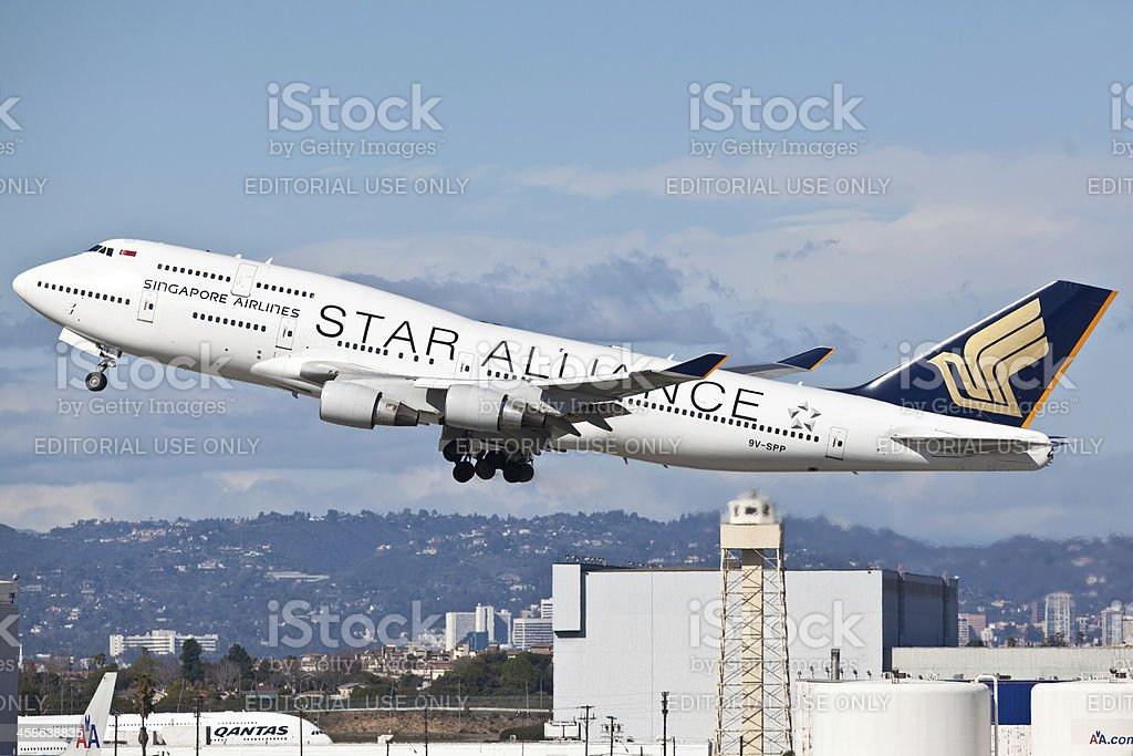 Singapore Airlines Boeing 747-400 with Star Alliance painting scheme stock photo