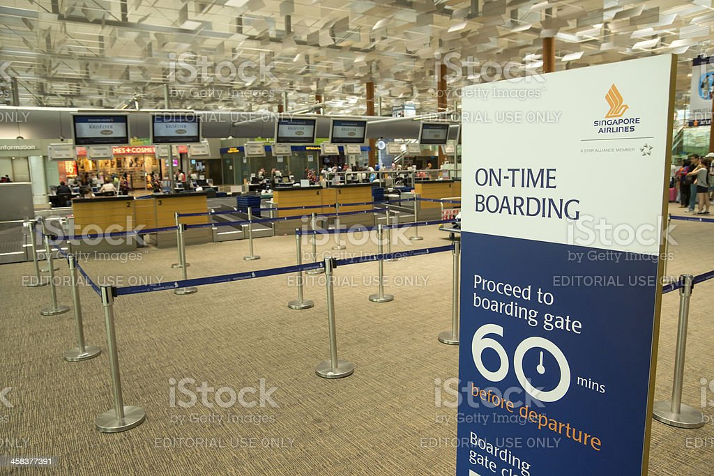 Singapore Airlines Check In Row stock photo