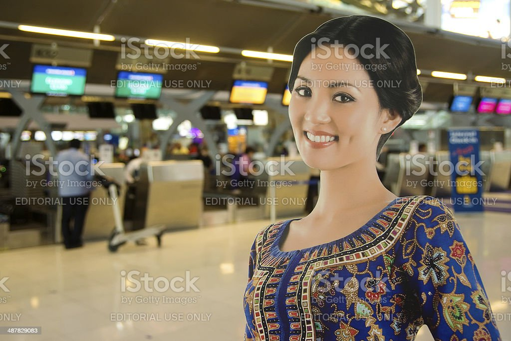 Singapore Airlines Check-In Row stock photo