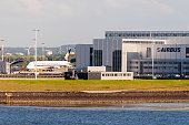 Singapore Airlines plane being fitted at the Airbus plant in