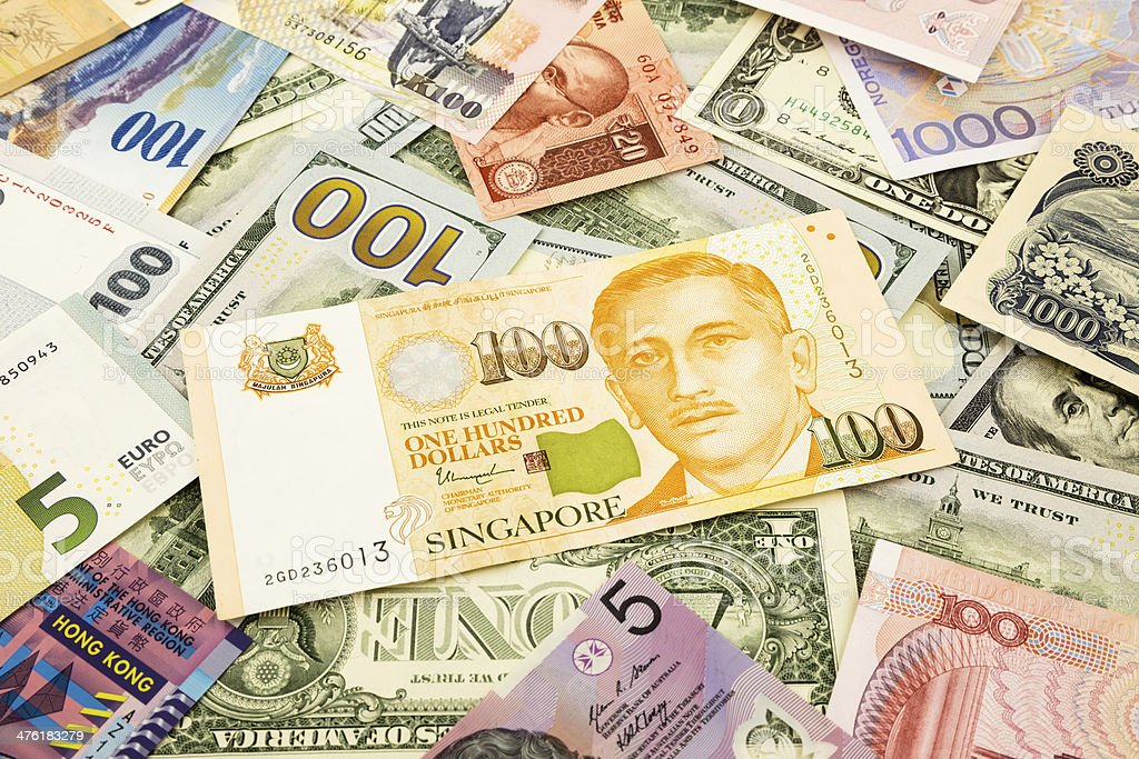 Singapore  and world currency money banknote stock photo