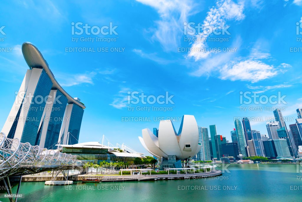 Singapore, April 27,2017. Marina Bay Sands Hotel,ArtScience Museum, Helix Bridge at April 27,2017 stock photo