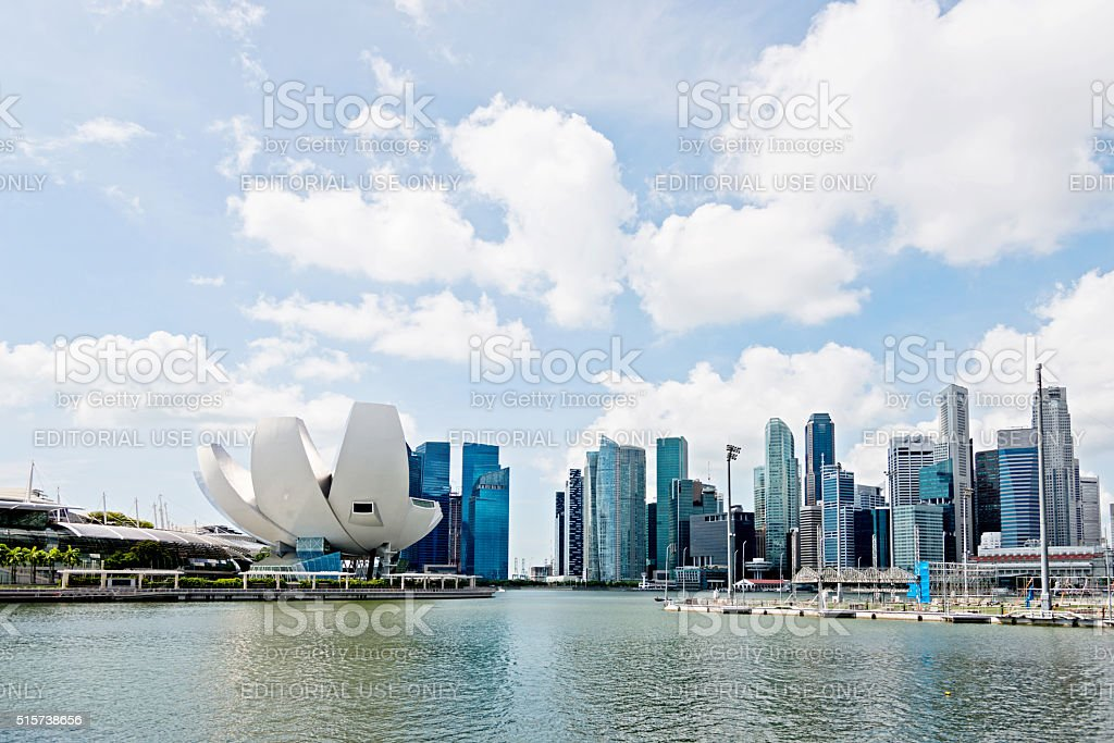 Singapore ArtScience Museum and CBD Skyline stock photo