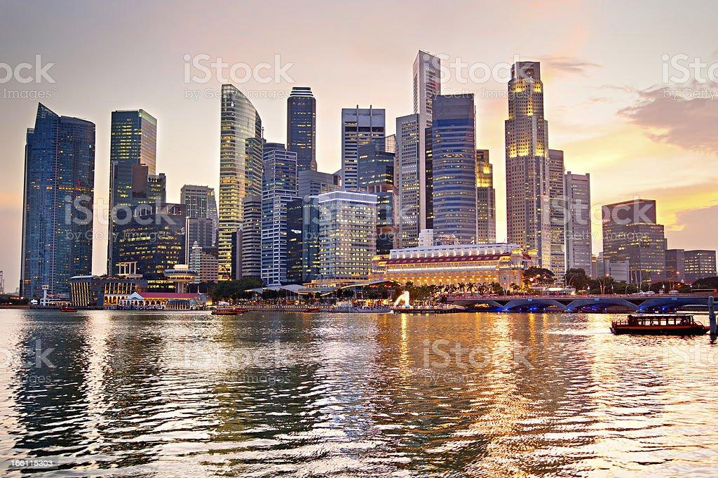 Singapore at sunset royalty-free stock photo