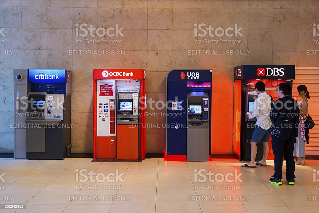 Singapore ATMs stock photo