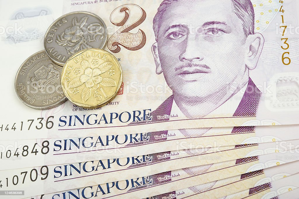 Singapore Banknotes and Coins stock photo