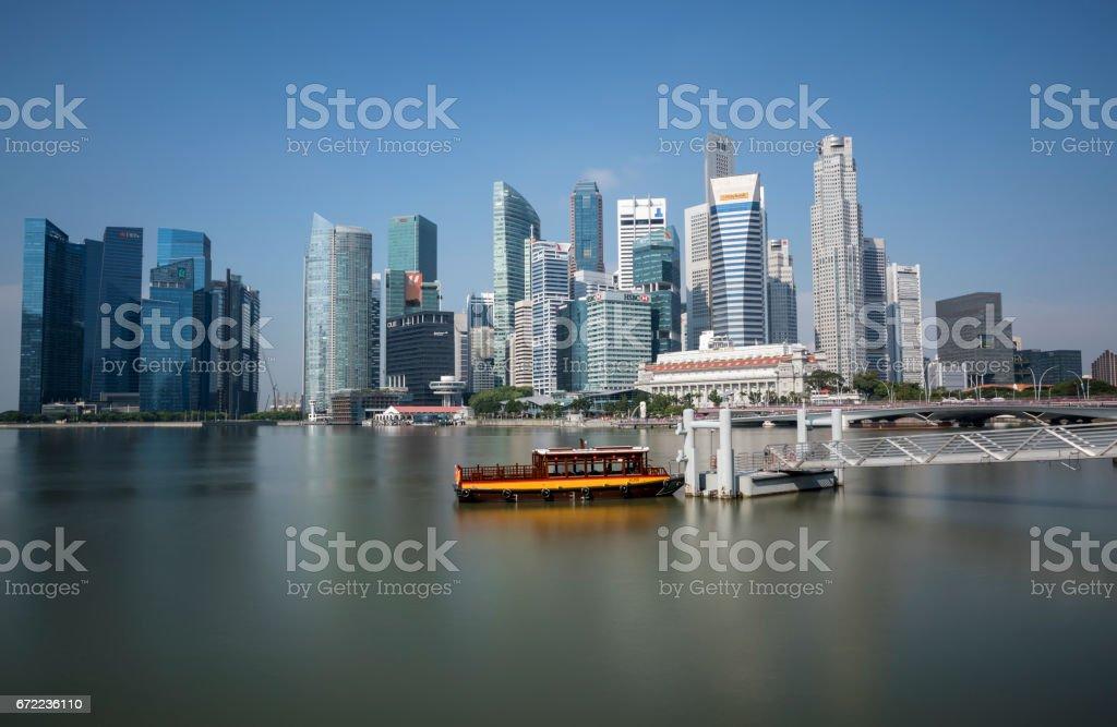 Singapore business district at Marina Bay at daytime stock photo