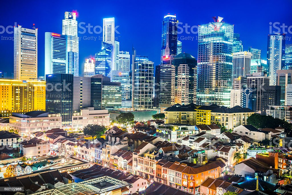 Singapore business district seen from Chinatown stock photo
