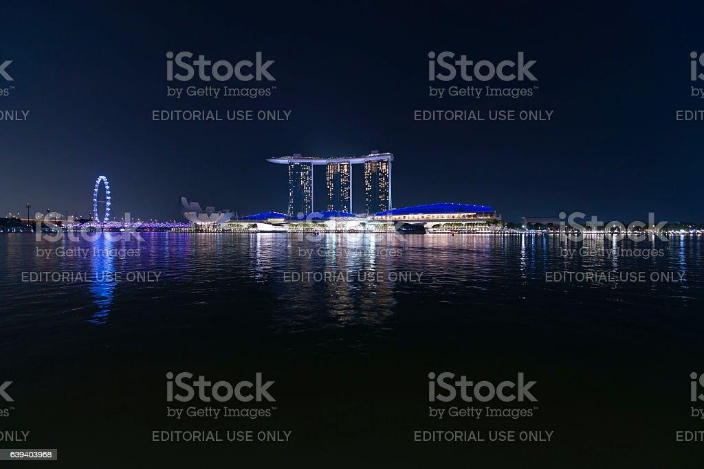 Singapore by night stock photo