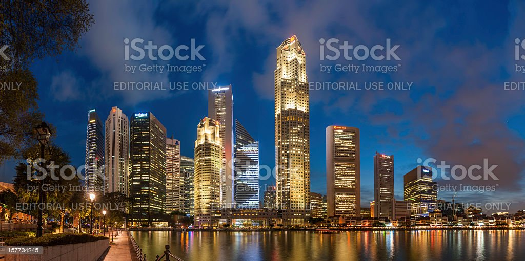 Singapore CBD Boat Quay neon night illuminated panorama royalty-free stock photo