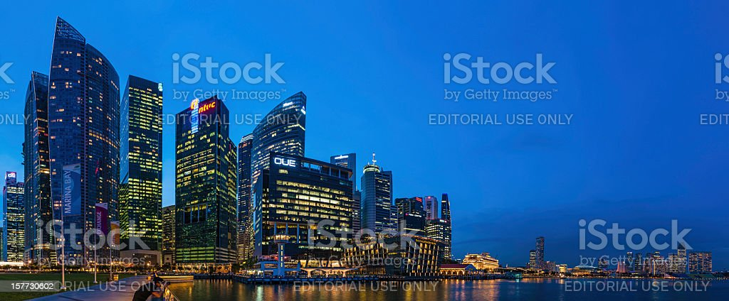Singapore CBD Marina Bay night panorama royalty-free stock photo