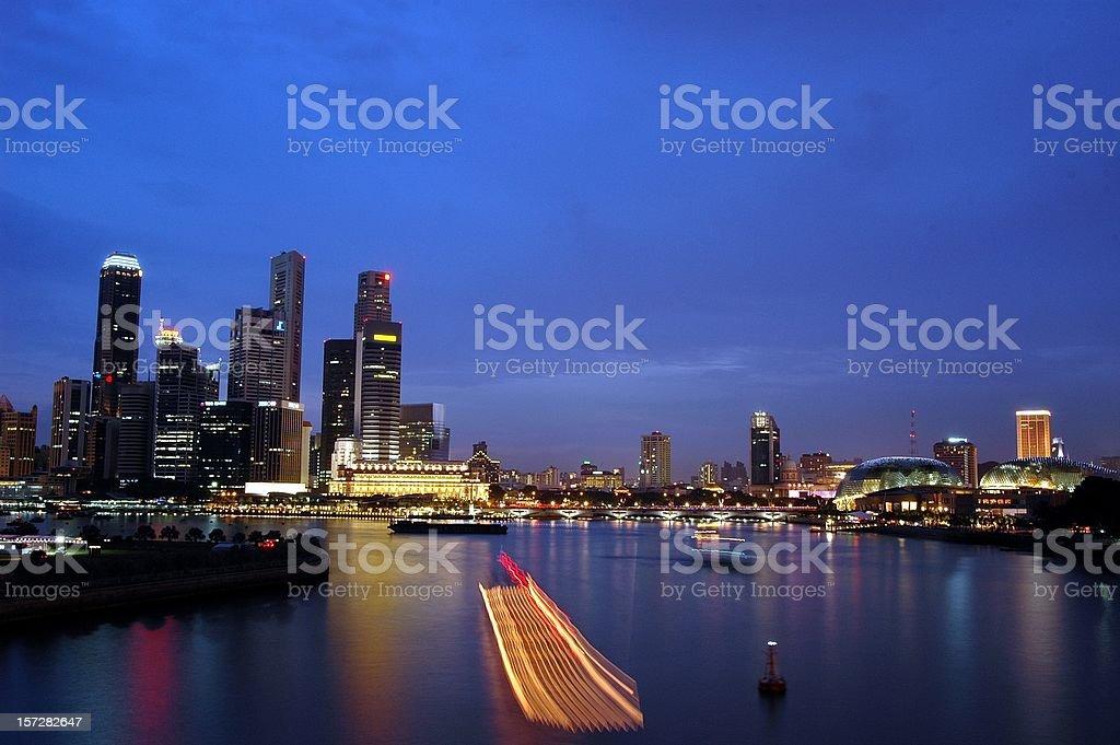 Singapore CBD skyline during dusk stock photo