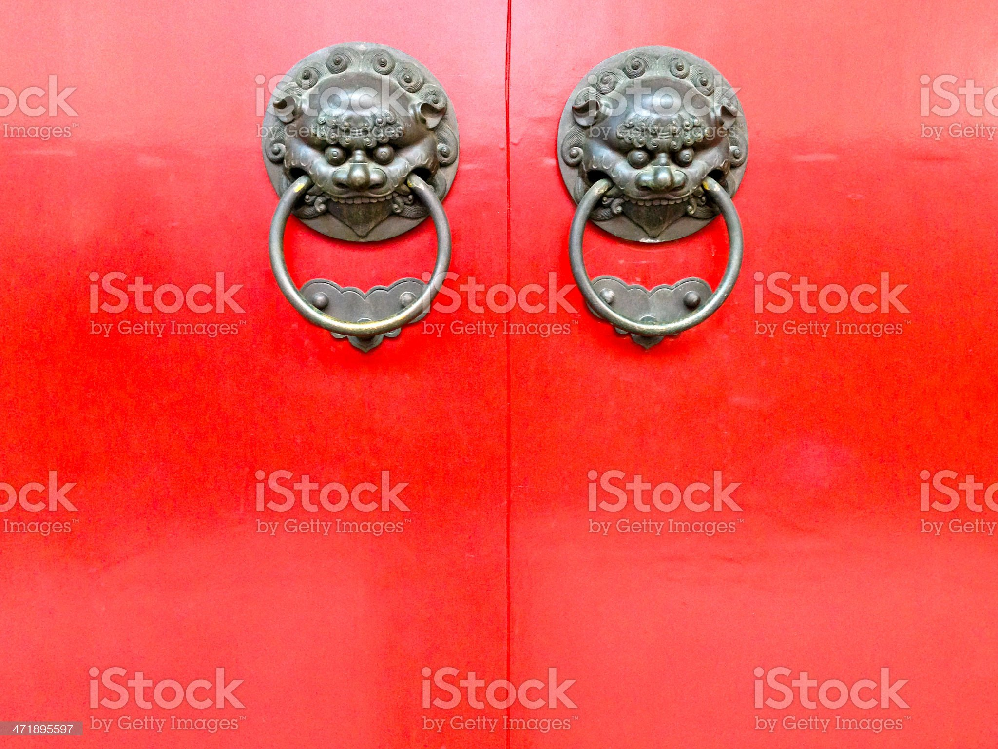 Singapore, Chinatown, traditional red temple doors. royalty-free stock photo