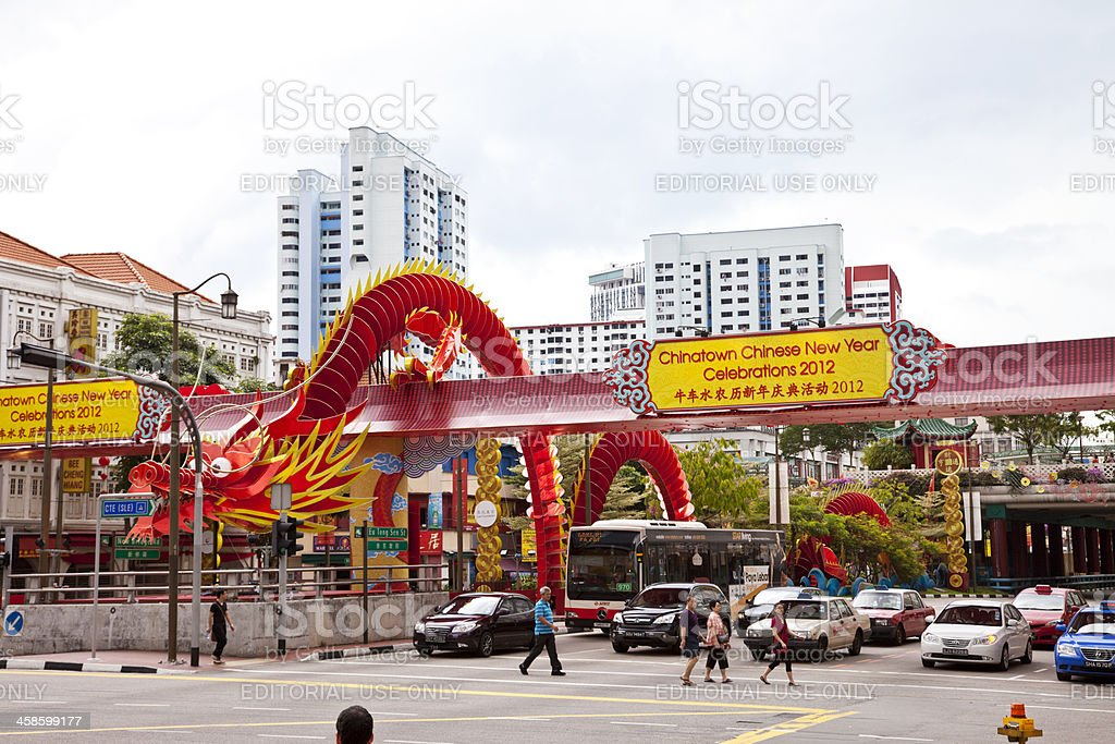Singapore, Chinatown with New Year decoration. royalty-free stock photo